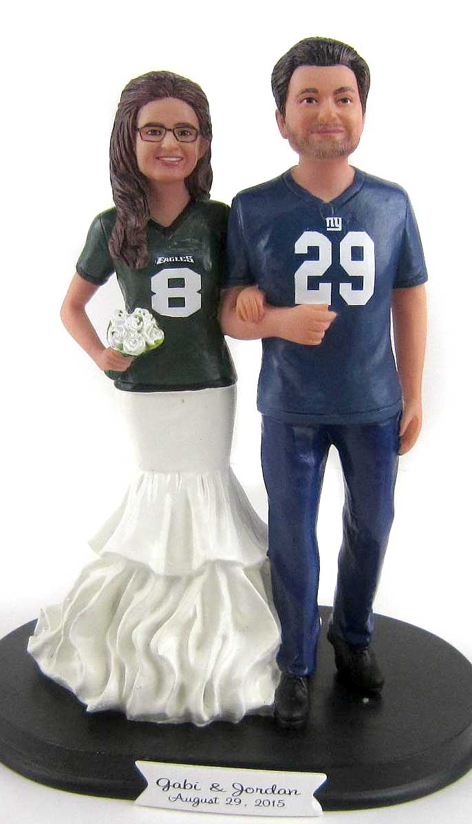 FOOTBALL COUPLE WEDDING CAKE TOPPER CUSTOM MADE